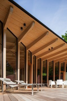 Post and beam construction for main floor commercial spaces Timber Architecture, Timber Buildings, Tropical Architecture, Pavilion Architecture, Sustainable Architecture, Residential Architecture, Architecture Design, Contemporary Architecture, Landscape Architecture