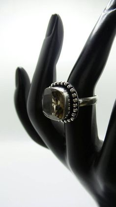 Smokey Quartz Sterling Silver ring, size 6.5 by FierStaarGems on Etsy