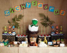 Boys Dinosaur themed Birthday Party Dessert table ideas