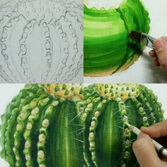 Cactus Art, Watercolour Tutorials, Painting Lessons, Botanical Art, Watercolor And Ink, Drawing Tips, Art Techniques, Art School, Colored Pencils