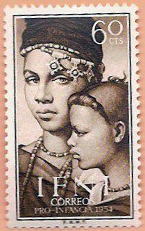 Sello Ifni de 60 céntimos, Pro Infancia, 1954 - Portal Fuenterrebollo