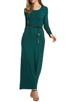 7bc93966c31 Hotouch Women Long Sleeve Loose Plain Tunic Long Maxi Dress with Pockets at  Amazon Women s Clothing store
