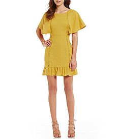 JOA Bell Sleeve Ruffle Hem Sheath Dress #Dillards