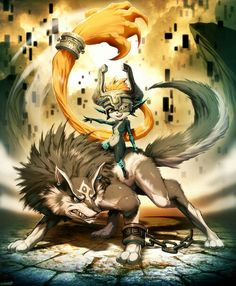 Link in wolf form and midna