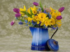 Image detail for -Spring Flower Arrangement, Blooms, blue, Coffee pot, Daffodils . Pictures Of Spring Flowers, Spring Flowers Wallpaper, Flower Pictures, Flower Wallpaper, Spring Flower Arrangements, Beautiful Flower Arrangements, Floral Arrangements, Beautiful Flowers, Everything