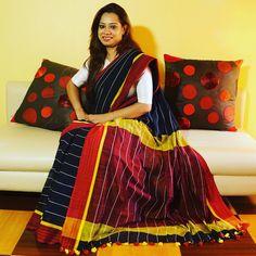 b280ffd360 Stripes Khadi Linen #Saree Khadi Saree, Saree Blouse, Indian Textiles,  Cotton Saree