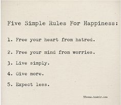 five rules for happiness
