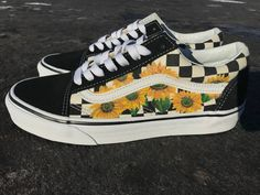 5c059efede Sunflower old skool checkerboard vans hand painted by me. Custom shoes!  Available on my