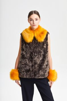 Cuffs + Polo Collar Fox Yellow Fake Fur, Cuffs, Fur Coat, Fox, Street Style, Yellow, Jackets, Women, Fashion