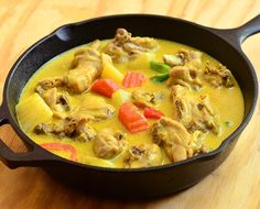 Chicken curry is rich and creamy dish made with chicken, potatoes and carrots simmered in coconut milk and curry spices. Awesome over heaps of rice!