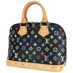 Pre-owned Louis Vuitton Alma Black Monogram Hand #15336 Multi-color... ($1,663) ❤ liked on Polyvore featuring bags, handbags, tote bags, zippered tote, leather tote, zippered tote bag, black handbags and black purse