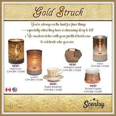 Scentsy Gold Struck Gold warmer collection 2016
