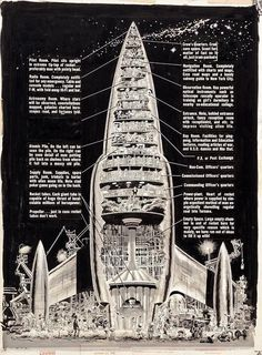 Wally Wood rocket diagram, 1955.