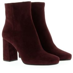 Prada Boots & Booties, Medium Heel Bootie Suede Bordeaux Shoe (36.775 RUB) ❤ liked on Polyvore featuring shoes, boots, ankle booties, red, suede booties, red booties, short boots, chunky heel booties and red ankle boots