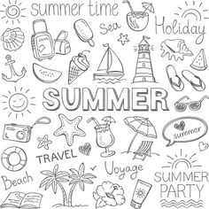 Summer Illustration Stock Vectors, Clipart and Illustrations , Doodle Drawings, Easy Drawings, Pencil Drawings, Summer Drawings, Pencil Sketching, Bujo Doodles, Planner Doodles, Free Doodles, Sketch Notes