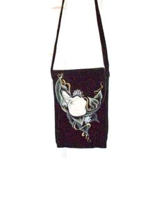 Hand Painted Black Suede Leather Purse   Cross Body or Shoulder Purse - pinned by pin4etsy.com