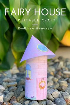 Fairy House Craft Project for Kids with Free Printable Template Printable Activities For Kids, Printable Crafts, Kindergarten Activities, Preschool Activities, Free Printables, Fairy House Crafts, Rainy Day Crafts, Craft Projects For Kids, Craft Ideas