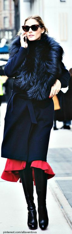 Street style - Olivia Palermo Dramatic and a lot of Romantic - red flirty dress showing at hem, and fur...