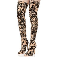 Ornate Velvet Nude Thigh High Boots ($55) ❤ liked on Polyvore featuring shoes, boots, above the knee boots, over the knee boots, thigh boots, pointed-toe boots and thigh high stiletto boots