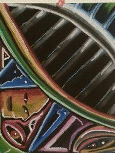 Pastel on black canvas. Challenging