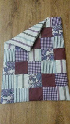 Hand-made purple patchwork cot/baby blanket/quilt