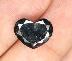 3.40 Ct Natural Loose Diamond Heart Shape Black Nas 8.80X10.90X4.50 MM L9399
