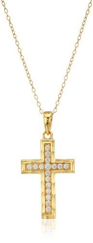 18k Yellow Gold Plated Sterling Silver Round White Cubic Zirconia Diamond Cut Cross Pendant Necklace 18 * Check out this great product.
