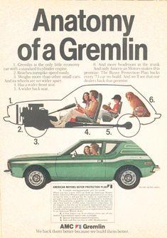 AMC Gremlin American Motors Corporation 10 x 7 Amc Gremlin, Retro Ads, Vintage Advertisements, Vintage Ads, Vintage Style, Vintage Signs, Vintage Items, Les Gremlins, Ed Vedder