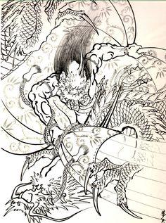 Japanese Oni Dragon Tattoo Art, Oni Tattoo, Chinese Dragon Tattoos, Irezumi Tattoos, Japanese Warrior, Japanese Dragon, Japanese Oni, Japanese Tattoo Art, Japanese Tattoo Designs
