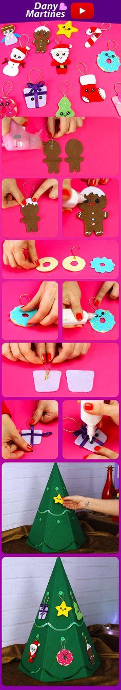 Faça você mesmo vários enfeites para arvore de Natal utilizando retalhos de tecidos feltro, DIY, do it yourself, christmas, Dany Martines