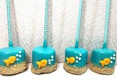 Chocolate Dipped Marshmallows, Cute Marshmallows, Marshmallow Pops, Pop Baby Showers, Baby Shower Fun, Nautical Cake Pops, Nautical Theme, Rainbow Sprinkles, Mermaid Birthday