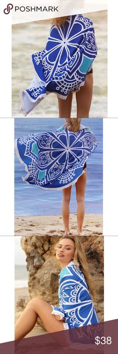 🆕Print Beach Cover Up - BLUE MANDALA 🚨🚨CAN ONLY BE BUNDLED WITH OTHER COVER UPS.🚨🚨.   100% polyester. Microfiber towel material. Super soft. 61' x 61'.   Available in 7 fun patterns.  Gets yours before they are gone.   🚨PRICE FIRM🚨 Bellanblue Swim Coverups