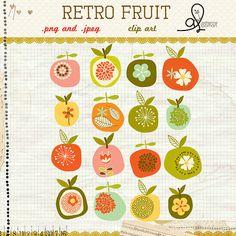 Retro fruit clip art by bucketscrap23 on Etsy, $4.00