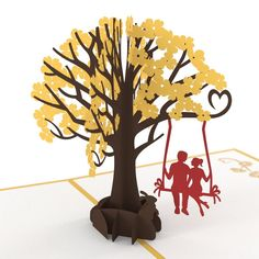 Lovers in a Dogwood Tree Yellow pop up card