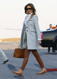 First lady Melania Trump walks across the tarmac upon her arrival at the airport in Helsinki, Finland, on the eve of President Trump's meeting with Russian President Vladimir Putin Trump Putin Summit, Vantaa, Finland – 15 Jul 2018 Cool Outfits, Fashion Outfits, Womens Fashion, Ladies Fashion, 90s Fashion, Korean Fashion, Fashion Ideas, Women's Summer Fashion, Winter Fashion