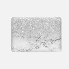 """Casetify Macbook Pro 15"""" (2016 - 2017) Macbook Snap Case - Modern faux grey silver glitter ombre white marble by Girly Trend by Girly Trend"""