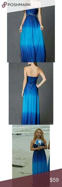 """Blue Ombre Dress Only worn once. Glitter on dress. Perfect for a beachy event or prom.  Back Zipper Details:Ombre, Glitter, Jewel Detailing, Bra Cups Fabric:100% Polyester, Chiffon Fit:The model is 5' 9"""" and wearing flat shoes. Length:53"""", hollow to hem 57"""" Neckline:Strapless Sweetheart Waistline:Empire onyx nite Dresses Prom"""