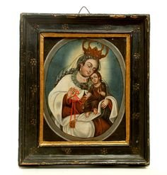This late / early century Spanish colonial oil on canvas painting represents 'Nuestra Señora de Carmen' (Our Lady of Mt. Colonial Art, Spanish Colonial, Religious Art, Our Lady, Madonna, Oil On Canvas, 19th Century, 18th, Painting