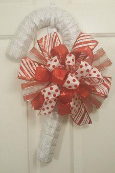 Candy cane wreath Candy cane door hanger Christmas wreath
