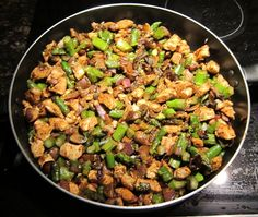 This stir fried chicken recipe is easy, healthy and filling. Chicken pieces are stir fried with asparagus and mushrooms.
