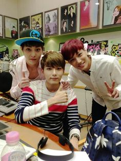 Xuimin & Kai from EXO with Ryeowook from Super Junior
