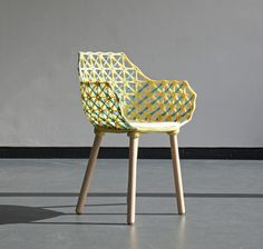 Germany-based studio nito created the Bobina series of chairs and coffee tables that are made using a combination of yarn and resin. T