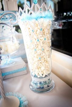 Cinderella birthday party popcorn! See more party planning ideas at CatchMyParty.com!