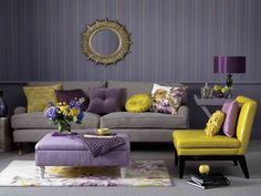 Choosing a living room color is the first step when re-decorating it. I think yellow color is a great choise for living room design. Living Room Yellow And Green, Living Room Decor Purple, Purple Wall Decor, Living Room Color Schemes, Living Room Paint, My Living Room, Living Room Interior, Living Room Furniture, Living Room Designs