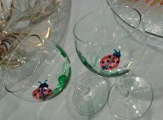 https://flic.kr/p/upPf8d | Art.Calici.0030 coccinelle | Calici con stelo curvato,decorati con coccinelle n° 6 € 30,00(possibilita di scegliere se calici da acqua,vino,o flut)