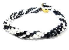 Vintage Necklace Eight Strands Black White by EclecticVintager, $20.00