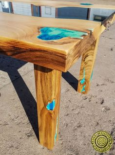 WOLIN - turquoise eye - Live edge river coffee table with glowing resin fillin and wooden legs Diy Resin Table, Turquoise Eyes, Clear Epoxy Resin, Wooden Leg, Live Edge Table, Wood Ideas, Wood Pieces, Wooden Tables, Walnut Wood