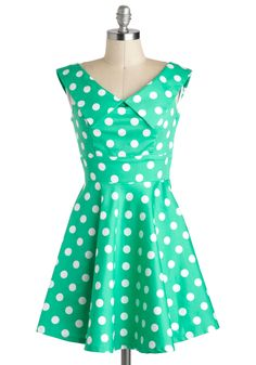 You Mint Business Dress - Mint, White, Polka Dots, Casual, A-line, V Neck, Cotton, Short, Vintage Inspired, Bows, Sleeveless, Collared