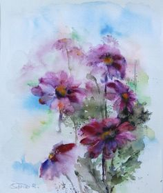 Pink Daisy Flowers  Original Watercolor Painting by CanotStop, $92.00