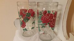 Vintage Set of Two Red Floral Glasses by sistersvintageattic